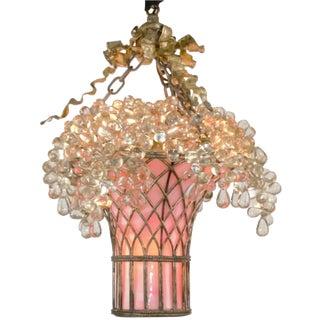 Early 20th Century Antique Belle Époque Glass Grape Basket Chandelier For Sale