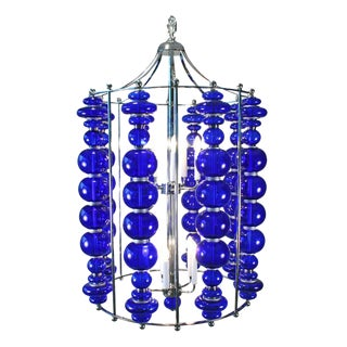 Modern Cobalt Blue Blown Art Glass Chandelier For Sale