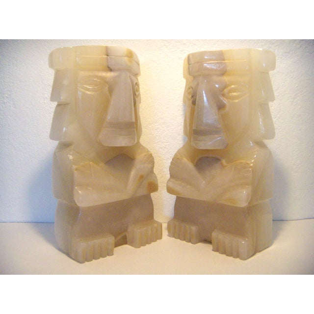 Boho Chic Vintage Pair of Onyx Stone Bookends, Statues or Figures For Sale - Image 3 of 7