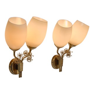 Paavo Tynell Rare Wall Lamps with Brass Decorations, Taito, Finland, circa 1950 For Sale