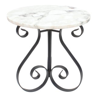 Marble and Iron Table For Sale