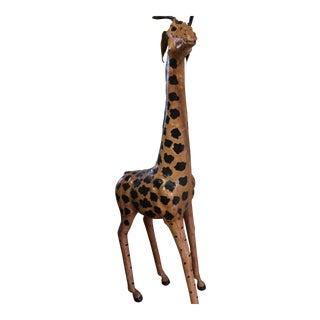 Vintage Handmade Leather African Giraffe For Sale
