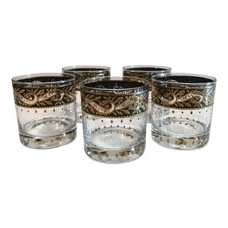 Mid Century Culver Low Ball Cocktail Glasses - Set of 5 For Sale