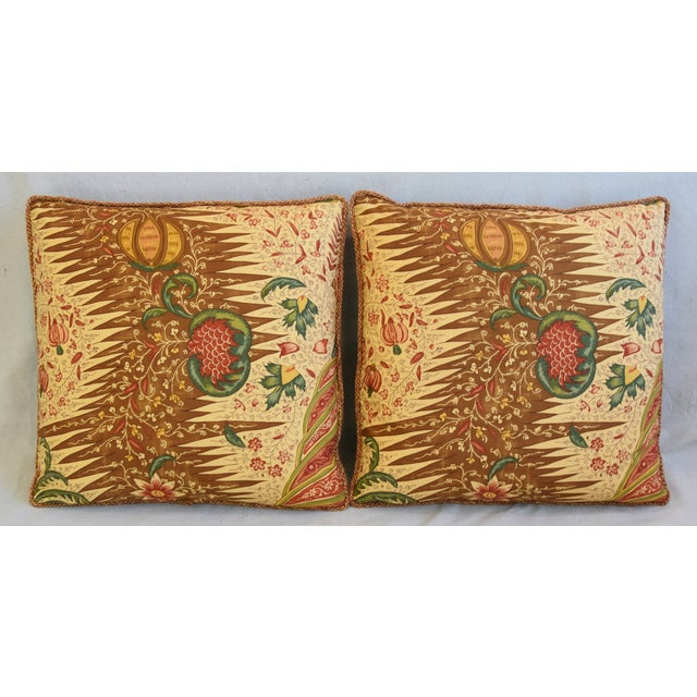 Pair of custom-tailored pillows in unused French Pierre Frey cotton fabric called La Riviere Enchatee from their...