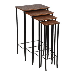 Sarried Ltd. Leather & Iron Nesting Tables - Set of 4 For Sale