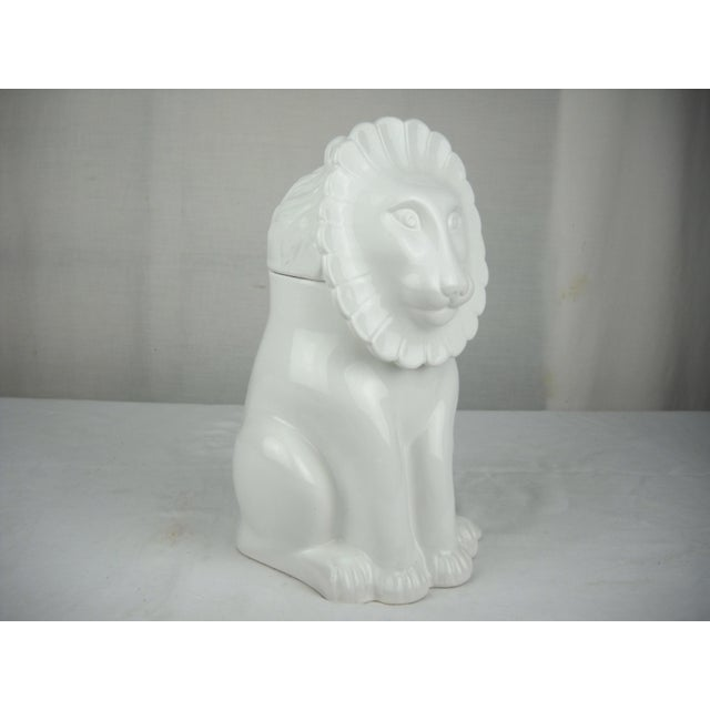 Vintage Italian Ceramic Lion Lidded Canister For Sale In Orlando - Image 6 of 11