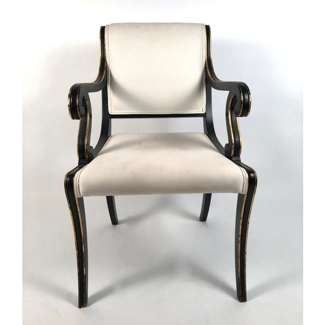 Wood Regency Style Ebonized and Parcel Gilt Armchair For Sale - Image 7 of 12