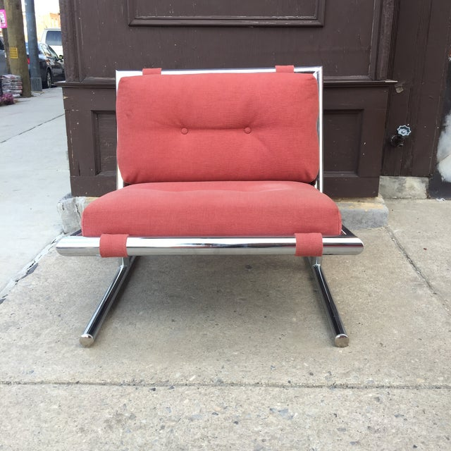 Industrial Arthur Umanoff Mid-Century Modern Chrome Cantilevered Sled Chair For Sale - Image 3 of 6