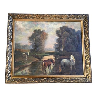 """Mid-Century """"Horses by the Stream"""" Signed Oil Painting on Canvas For Sale"""