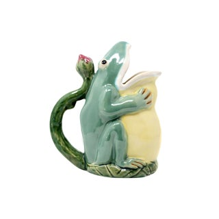 Vintage Ceramic Frog Pitcher For Sale