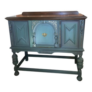 1960s Vintage JacobeanTeal Green Sideboard For Sale