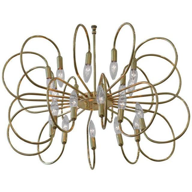 1960s Polished Brass Twelve-Arm Chandelier For Sale - Image 5 of 5