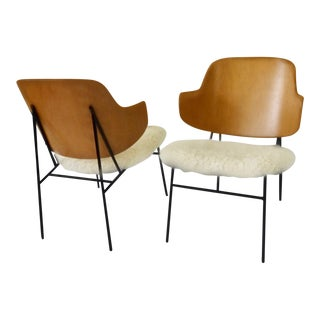 Pair of Wrought Iron Base Ib Kofod-Larsen Penguin Lounge Chairs For Sale