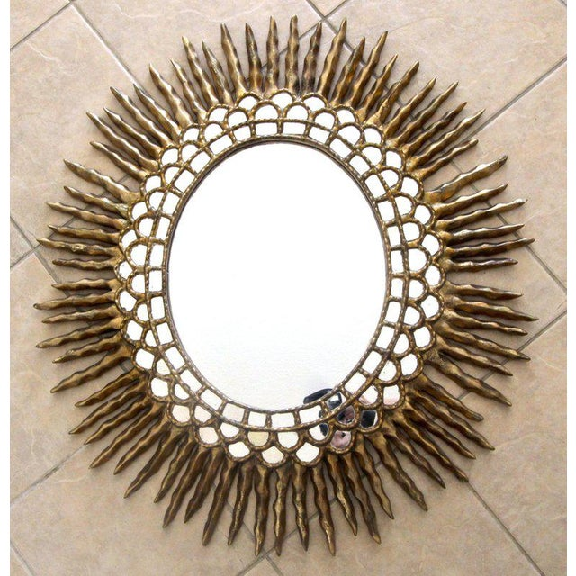 1970s 1970s Spanish Colonial Sunburst Oval Giltwood Wall Mirror For Sale - Image 5 of 11