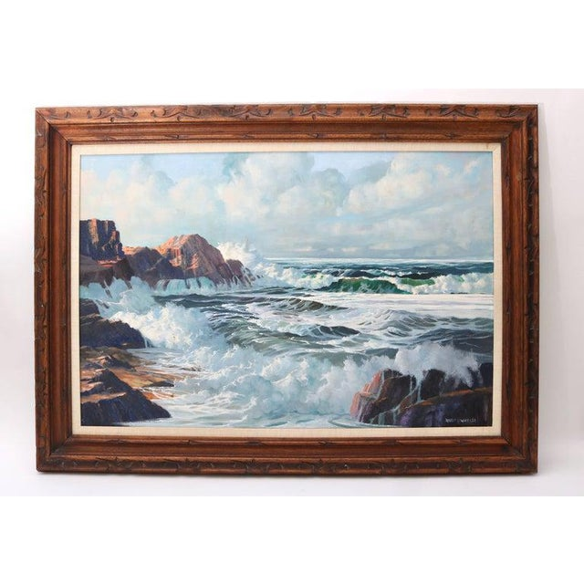 "Oil on Canvas, ""Shore Line at High Tide"" Large Scale Painting by Robert P. Wheeler For Sale - Image 11 of 11"