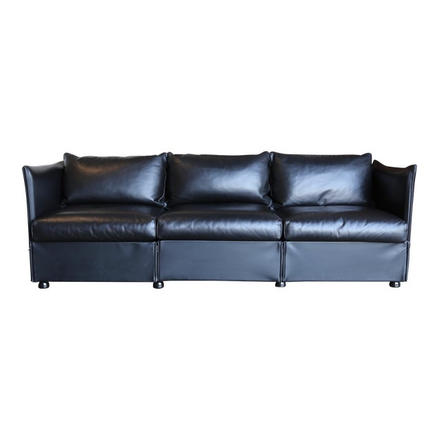 1980s Vintage Leather Landeau Sofa by Mario Bellini for Cassina For Sale