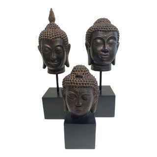 Thai Buddha Head Statues in Dark Brown and Black on Black Pedestals - Set of 3 For Sale