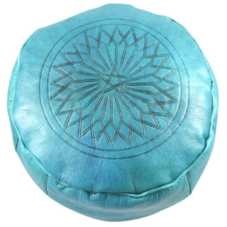 Turquoise Leather Moroccan Pouf Ottoman For Sale
