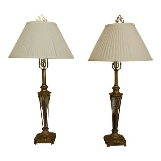 1990s Brass & Crystal Regency Style Table Lamps - a Pair For Sale