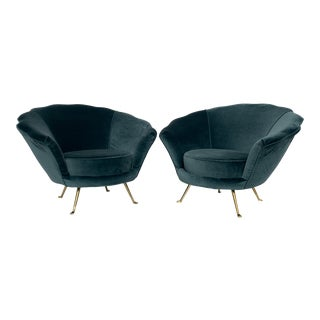 Vintage Mid Century Scalloped Back Lounge Chairs- A Pair For Sale
