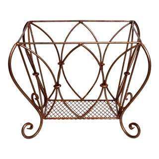 Vintage Bronze Tones Wrought Iron Gold Magazine Stand. For Sale