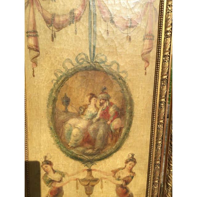19th Century Vintage Oil Painting French 3-Panel Room Divider For Sale - Image 4 of 6