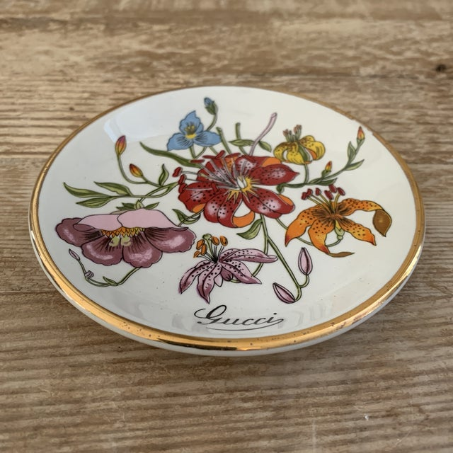 Boho Chic Vintage Gucci Accornero Floral Catchall Ashtray For Sale - Image 3 of 6