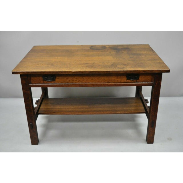 1900s Arts and Crafts L & Jg Stickley Library Table/Writing Desk For Sale - Image 12 of 12