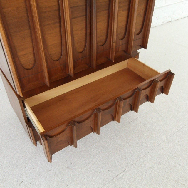 1970's Brutalist Highboy Armoire For Sale - Image 4 of 9