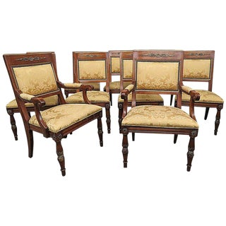 Set of Ten Henredon Empire Style Dining Chairs For Sale