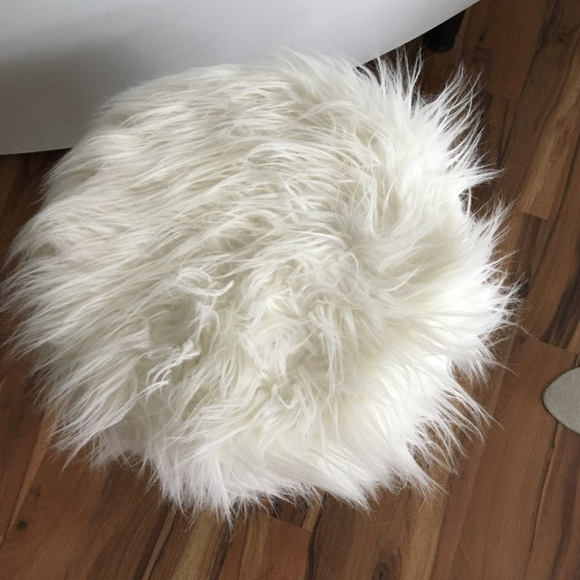 Vintage White Fluffy Stool For Sale - Image 4 of 8