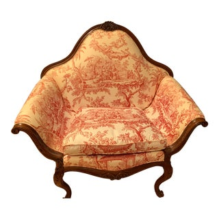 Vintage French Style Settee Arm Chair For Sale
