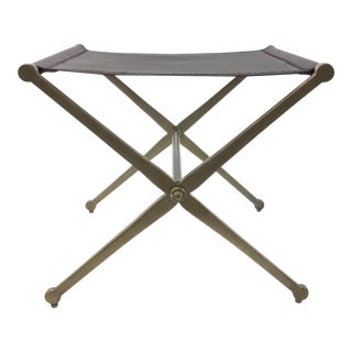 Caracole Band Together Chocolate Leather Bench For Sale