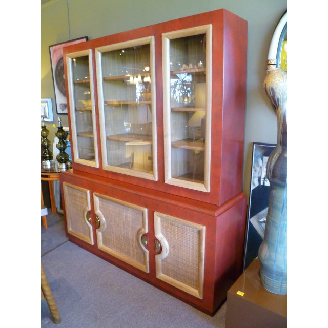 1940s Antique Paul Laszlo Style Faux Red Leather Finished Buffet / Breakfront For Sale - Image 12 of 13