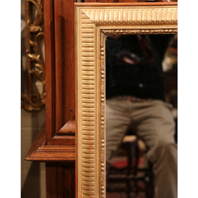 French 19th Century French Louis XVI Carved Gold Leaf Mirror with Two-Tone Stripe Motif For Sale - Image 3 of 9