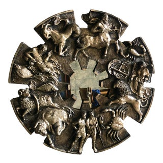 Signed Brutalist Zodiac Mirror For Sale