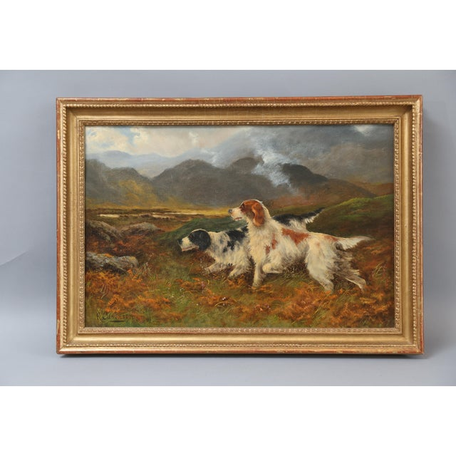 Antique Sporting Dogs Oil Painting, Robert Cleminson (Active 1864-1903) For Sale - Image 9 of 9