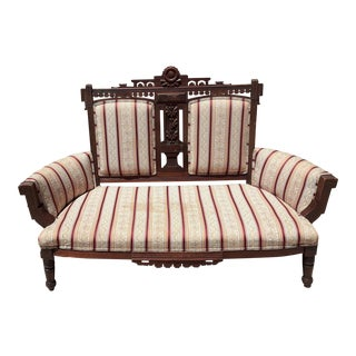 Antique Late 19th C. Victorian Eastlake Carved Walnut Settee Parlor Loveseat Bench For Sale