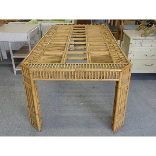 Intricate Natural Bamboo Dining Table For Sale - Image 4 of 13