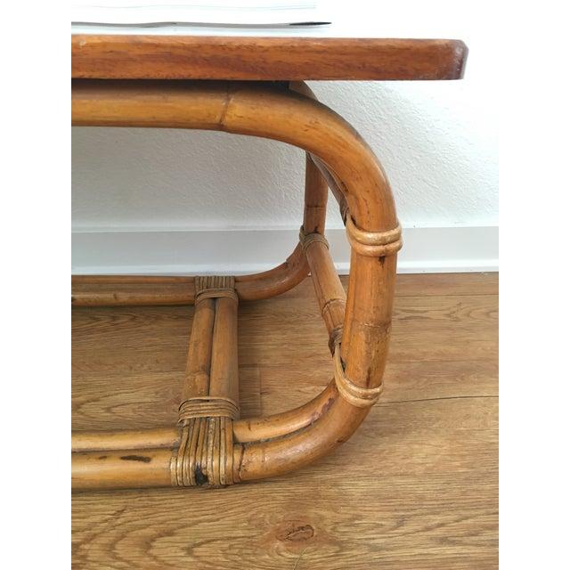 Vintage Koa Wood & Rattan Coffee Table - Image 7 of 11