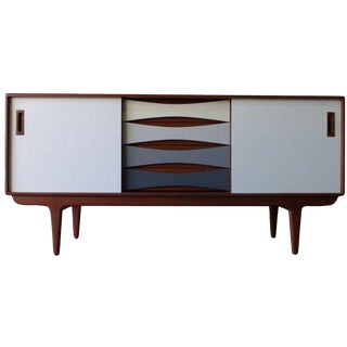 Shades of Gray Mid Century Modern Teak Credenza For Sale