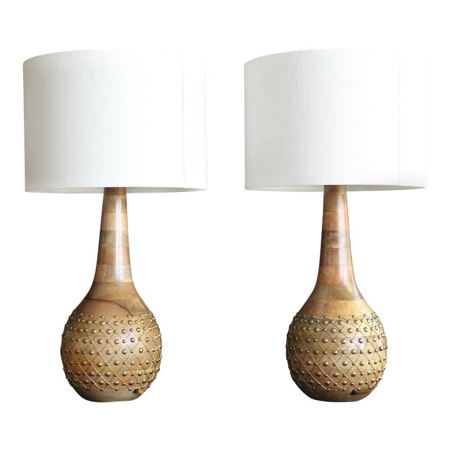 1960s Mid-Century Modern Pecan and Brass Table Lamps - a Pair For Sale