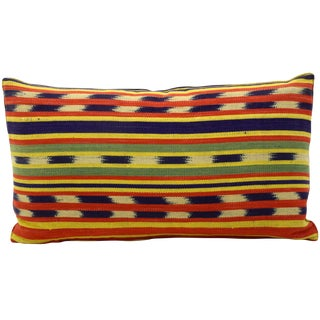Vintage Bolivian Ikat Bolster Pillow For Sale