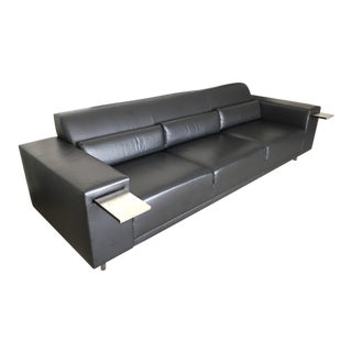 Brueton Black Leather Sofa