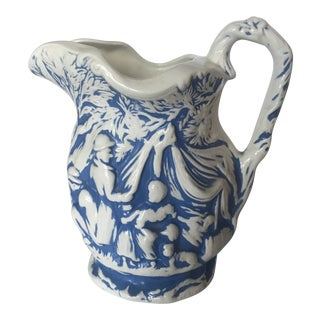 1970's Cottage Blue and White Pitcher in Relief For Sale