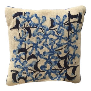 Vintage Blue & Cream Floral Needlepoint Pillow