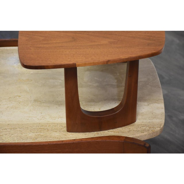 Bertha Schaefer Walnut and Travertine End Tables - a Pair For Sale - Image 10 of 11
