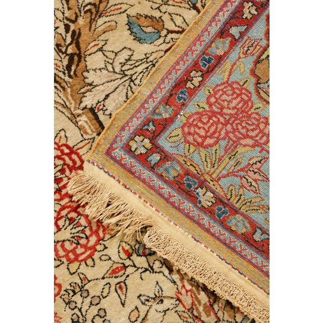 Textile 1910s Antique Kashan Blue and Beige Wool Persian Rug-4′6″ × 7′1″ For Sale - Image 7 of 8