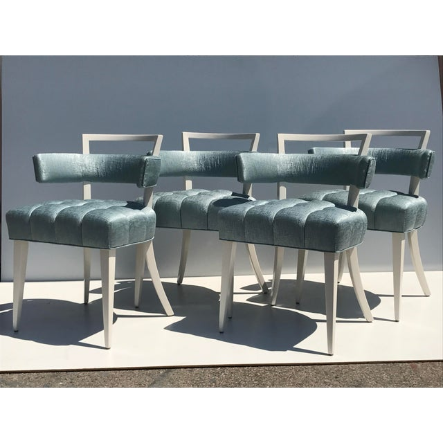 Set of Four Billy Haines Biscuit Tufted Side / Dining Chairs - Image 3 of 11