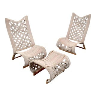 1983 Boho Chic Marzio Cecchi Lounge Chairs & Ottoman - 3 Pieces For Sale